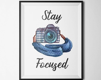 Stay Focused Printable Wall Art Photography Studio Decor Watercolor Antique Camera blue Camera Quote Art Print Camera