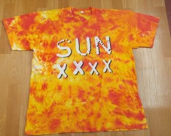 Vintage Sun XXXX t-shirt, 1995 concert tour shirt tie dye GUN 051, Gun Records Germany 1990s authentic merchandise 90s pop rock size size XL