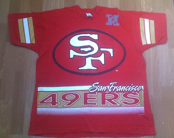 NFL San Francisco 49ers t-shirt, 1994 football jersey, vintage red cotton shirt jacket, 90s hip-hop clothing, 1990s, size XL Made in USA