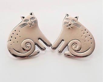 Laurel Burch Silver Grumpy Keshire Cat Post Earrings