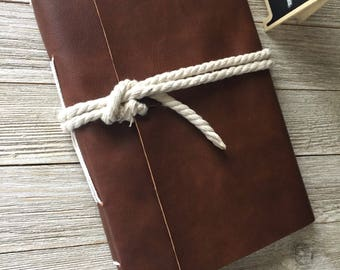 Faux leather journal, vegan leather, hand made; 3rd anniversary gift lined paper or plain paper