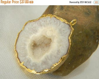 on sale 80% Discount Druzy Pendants With Electroplated Gold Edge Charms Wholesale Price Handmade Size 35MM Approx