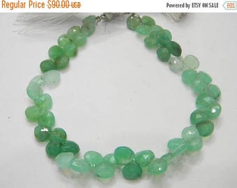 on sale AAA quality natural chrysoprase faceted heart shape briolitte 8 inch strand 9 mm approx