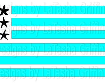 Seashell American Flag | Beach | SVG & DXF | Digital File | Starfish and Stripes | Summer | Fourth of July | Patriotic | Independence Day