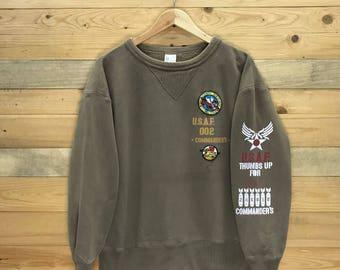 Rare! Vintage Air Force U.S.A.F 002 Comanders Sweatshirt Size XL