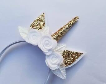 Unicorn Crown, Unicorn Birthday Party, Glitter Unicorn headband, Gold Unicorn Headband, Unicorn Party Favor, Unicorn horn