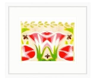 Bees In The Garden, Colorful Floral Famed Print of digital collage by Liza Cowan.. 18 x 20 Framed print. Free Shipping