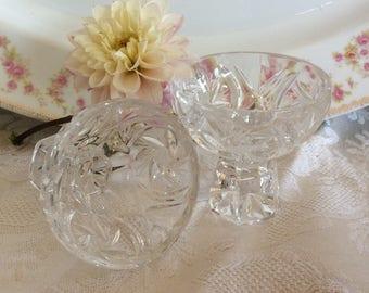 Vintage pair Pinwheel crystal open salt cellars dip salters