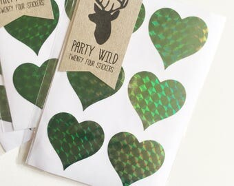 Heart Stickers Pk24 - Holographic Green