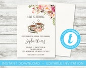 EDIT YOURSELF, Love is Brewing Invitation, Coffee Invitation, Bridal Coffee Shower, Bridal Shower Coffee Bridal Brunch Invitation, Templett