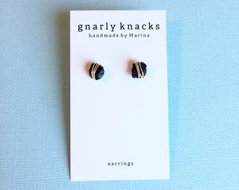Black Tourmaline Wire Wrapped Earrings