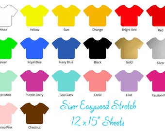 """Siser Easyweed Stretch HTV 12"""" x 15"""" - RTS Siser Easy Weed Stretch Heat Transfer Vinyl - Ready to Ship"""