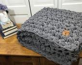 "Large Chunky Hand Knit Blanket 78"" X 46""Christmas Gift Dark Grey Crimson"