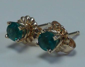 14K Yellow Gold and Emerald Stud Earrings