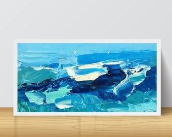 Ocean Painting on Canvas Ocean Wave Art Sea Painting Abstract Blue Modern Home Decor Abstract Ocean Waves Coastal Decor Living Bedroom
