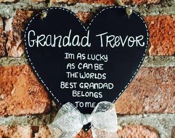 Grandad quote wooden sign heart