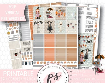 Spooky Things Halloween Full Weekly Kit Printable Planner Stickers | JPG/PDF/Silhouette Cut Files | For Use with Erin Condren ECLP Vertical
