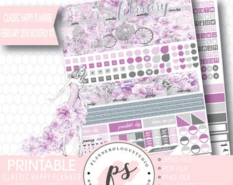 Cinderella February 2018 Monthly View Kit Printable Planner Stickers (for Classic Happy Planner) | JPG/PDF/Silhouette Cut File
