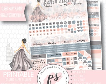 Fashionista February 2018 Monthly View Kit Digital Printable Planner Stickers (for Classic Happy Planner) | JPG/PDF/Silhouette Cut File