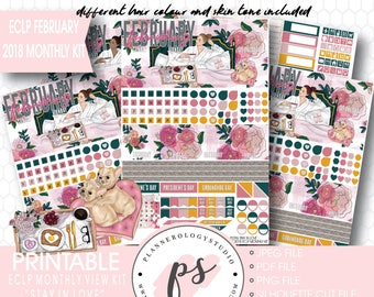 Stay in Love February 2018 Monthly View Kit Digital Printable Planner Stickers (Erin Condren)|JPG/PDF/Silhouette Compatible Cut File