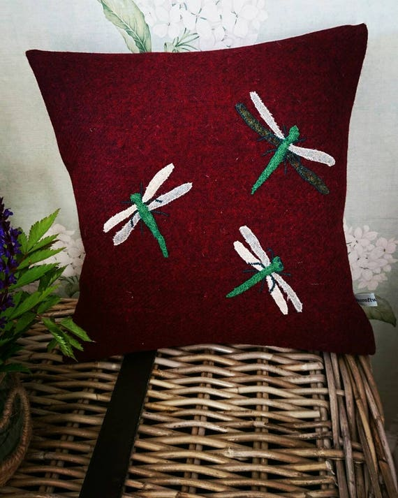 SALE Hand Crafted Harris Tweed dragonfly cushion cover