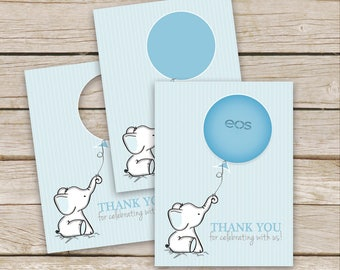 Blue Elephant Baby Shower EOS Lip Balm Favor Card - Elephant Thank Cards - Printable Instant Download - Blue Elephant Lip Balm Favor Cards