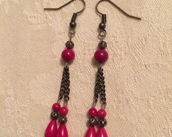 Natural red coral earrings