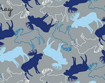 Stags in Grey/Navy /Brown Cotton Jersey