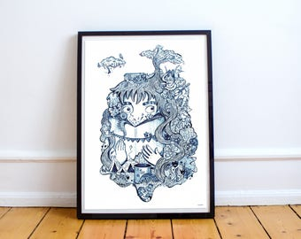 Wanddeko, Poster, Plakat, Verträumt, Verspielt und Achtsam, Illustriertes Bild von Kiri_ly A2