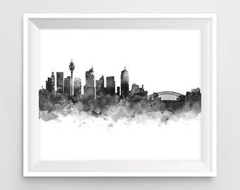 Sydney Print, Sydney Skyline, Watercolor, Poster, Cityscape, Oceania, Opera House, Wall Art, Printable Sydney Decor Gift Digital Download