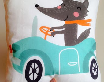 Fox pillow cover in the car