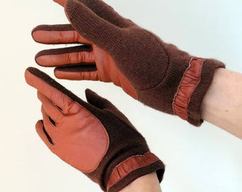 Driving gloves for women brown leather wool knitted retro fall winter gloves vintage 70s 1970s Size Medium