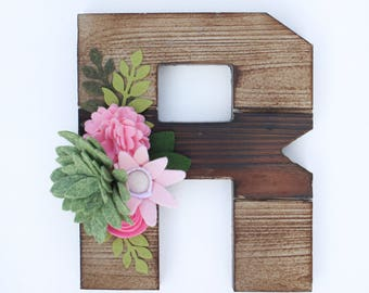 Personalized Wood Letters, Initial Wood Letters with Handmade Felt Flowers - You Choose Colors, nursery decor, gift for her
