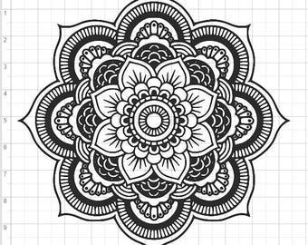 Mandala Style Flower SVG PDF EPS Dxf & Studio 3 Cut Files