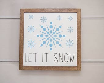 Let It Snow Wall Hanging | Winter Decor | Rustic Christmas Decor | Country Decor | Christmas Rustic Decoration | Country Home Decor