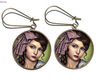 Bronze earrings with glass cabochons