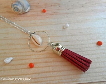 Necklace tassel and shell, gift idea party big day, Easter
