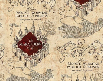 Harry Potter Fabric - Marauder's Map Fabric - Cotton Quilting Fabric - By the yard fabric