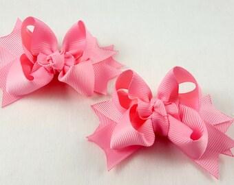 Pink Mini Hair Bows-Set of 2/Hair Accessory/Little Girl Hair Bow/Toddler Bow/Pink Hair Bow/Mini Hair Bows/Pig Tail/Piggy Tail Bows/Tween Bow