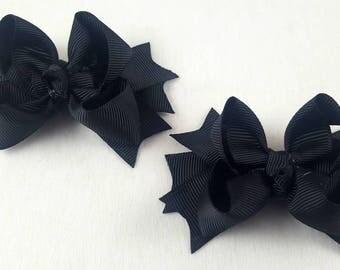 Black Mini Hair Bows-Set of 2/Hair Accessories/Little Girl Hair Bow/Toddler Hair Bow/Tween Hair Bows /Pig Tails/Stack Hair Bow/Mini Hair Bow