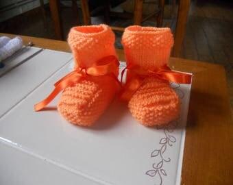 Baby Slippers handmade orange color
