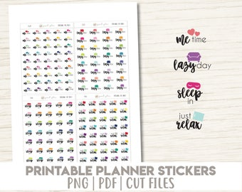 Me Time, Lazy Day, Sleep In & Just Relax | Printable | Planner Stickers | Cut Lines | Planner Sticker Printable - PD21