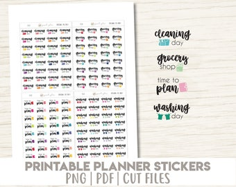 Cleaning Day, Grocery Shop, Time To Plan, Washing Day Stickers | Printable | Planner Stickers | Cut Lines | Planner Sticker Printable - PD36