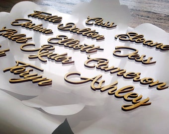 Personalised wooden wedding place name . Laser cut wedding place cards, Custom Made Guest names