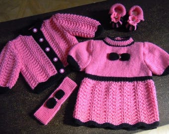 vest set dress, booties and headband size 0/1 month