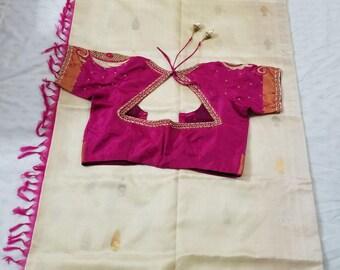 Uppada-Pure-Silk-100% Saree-Handloom-Indian-Wedding/engagement cream with pink gold border-uppada-pattu-with-stitched handmade blouse