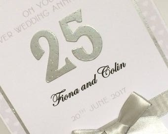 Personalised 25th Silver Wedding Anniversary Card