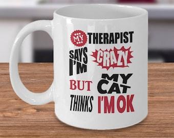 Cat lover mug,rescue cat mug,Tea mug,coffee mug,drinking mug,travel mug,11oz mug,15oz mug,black cat mug,cat lover gifts,Cat Thinks I'm OK