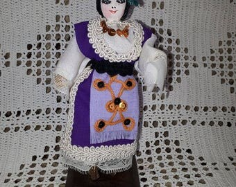 Vintage Traditional Bulgarian Doll, Vintage  Doll, Traditional Bulgarian Folk Art,  Bulgarian Doll hand made