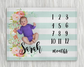 Milestone blanket etsy baby month milestone blanket striped blue floral personalized baby blanket track growth and age negle Choice Image